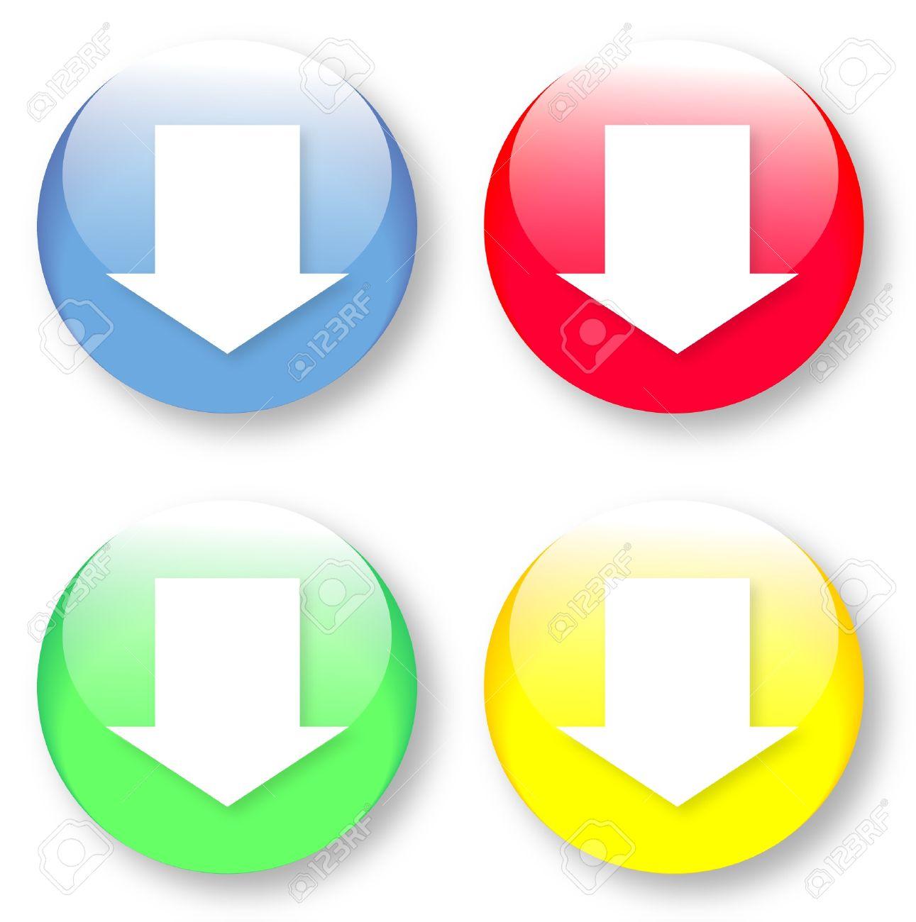 19654223-simple-icono-de-la-flecha-blanca-mirando-hacia-abajo-en-un-color-verde-amarillo-azul-y-rojo-bot-n-vi-foto-de-archivo